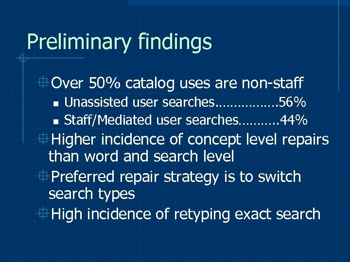 Preliminary findings °Over 50% catalog uses are non-staff n n Unassisted user searches. …………….