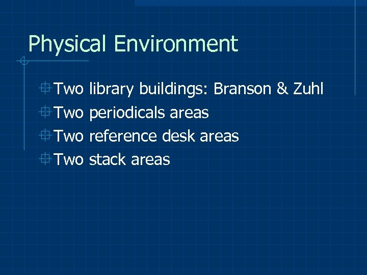 Physical Environment °Two library buildings: Branson & Zuhl °Two periodicals areas °Two reference desk