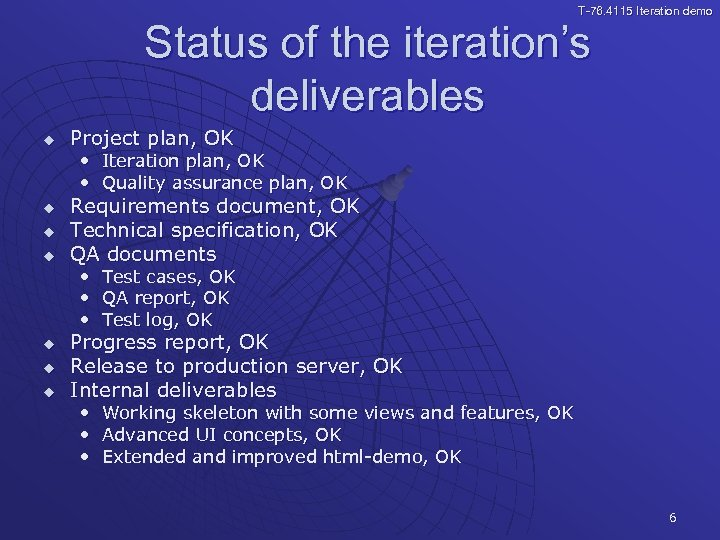 T-76. 4115 Iteration demo Status of the iteration's deliverables u Project plan, OK •