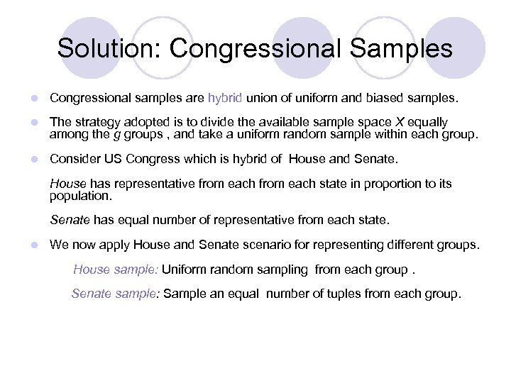 Solution: Congressional Samples l Congressional samples are hybrid union of uniform and biased samples.
