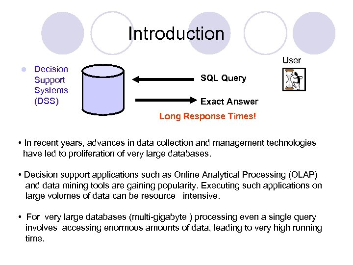 Introduction l Decision Support Systems (DSS) User SQL Query Exact Answer Long Response Times!
