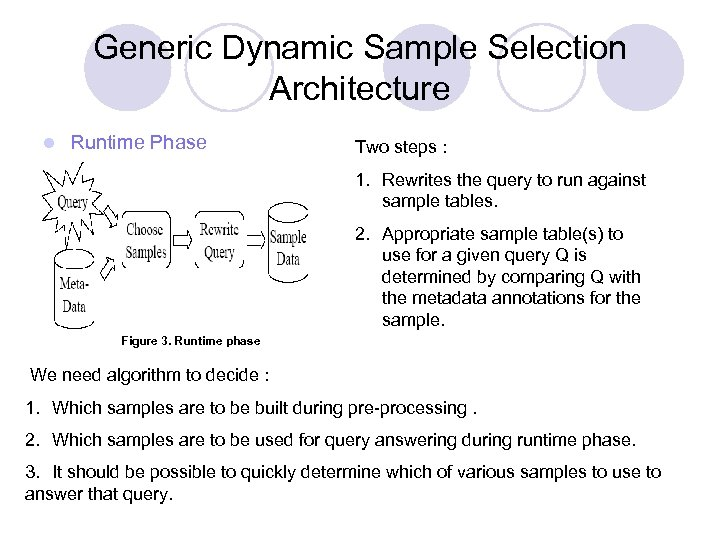 Generic Dynamic Sample Selection Architecture l Runtime Phase Two steps : 1. Rewrites the