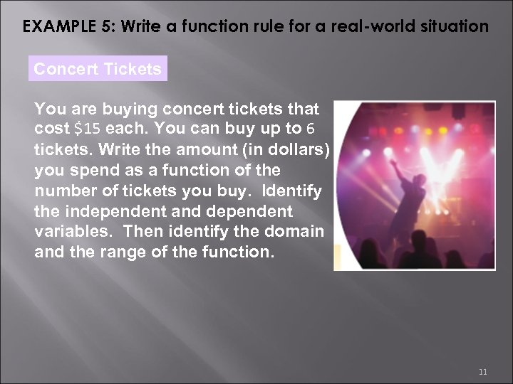 EXAMPLE 5: Write a function rule for a real-world situation Concert Tickets You are