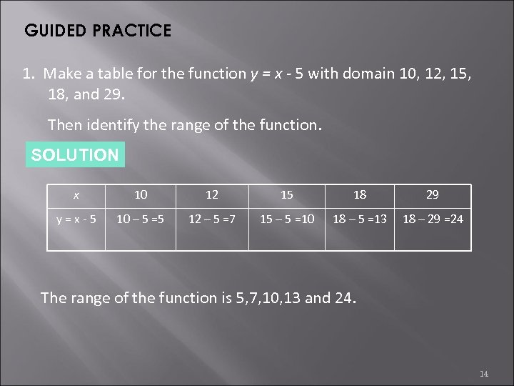 GUIDED PRACTICE 1. Make a table for the function y = x - 5