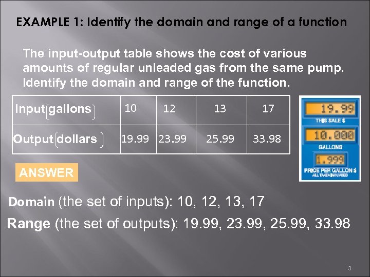 EXAMPLE 1: Identify the domain and range of a function The input-output table shows