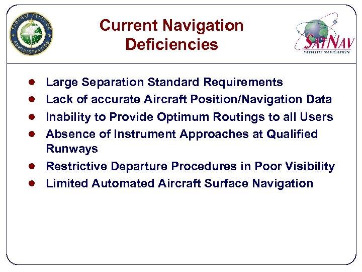 Current Navigation Deficiencies l Large Separation Standard Requirements l Lack of accurate Aircraft Position/Navigation