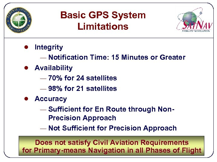 Basic GPS System Limitations l Integrity — Notification Time: 15 Minutes or Greater l