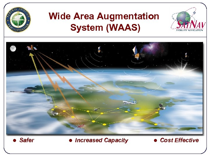 Wide Area Augmentation System (WAAS) l Safer l Increased Capacity l Cost Effective