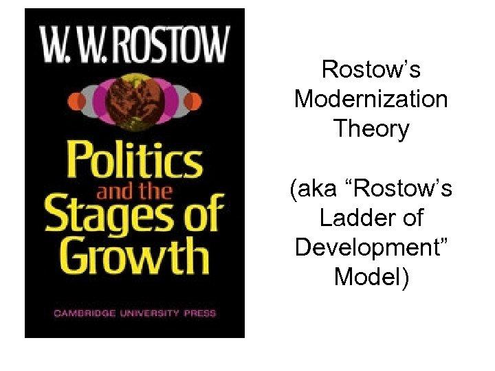 "Rostow's Modernization Theory (aka ""Rostow's Ladder of Development"" Model)"