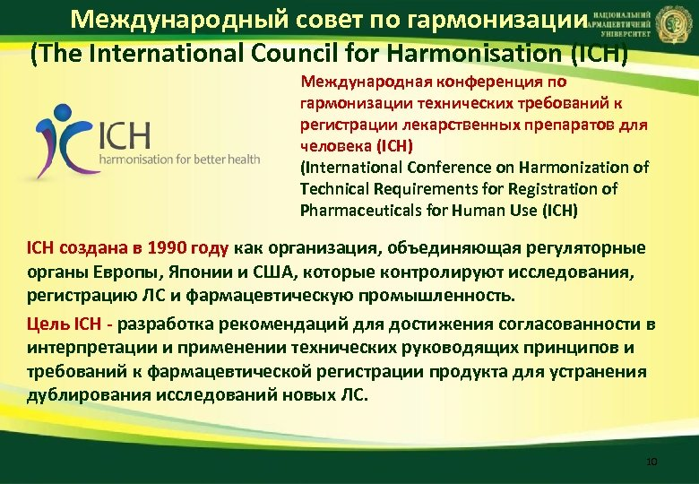Международный совет по гармонизации (The International Council for Harmonisation (ICH) Международная конференция по гармонизации