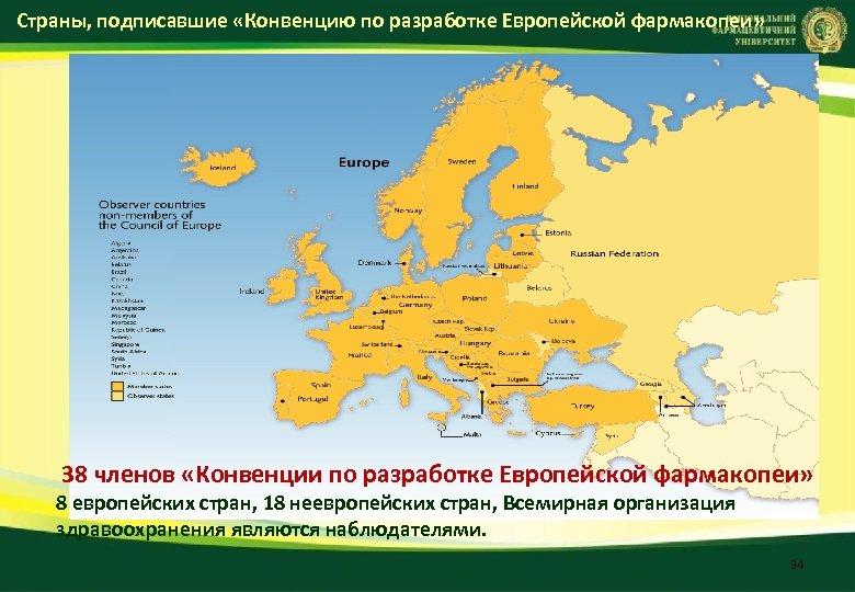 Страны, подписавшие «Конвенцию по разработке Европейской фармакопеи» 38 членов «Конвенции по разработке Европейской фармакопеи»
