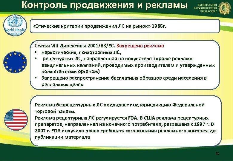 Контроль продвижения и рекламы «Этические критерии продвижения ЛС на рынок» 1988 г. Статья VIII