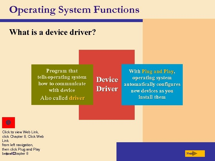 Operating System Functions What is a device driver? Program that tells operating system how