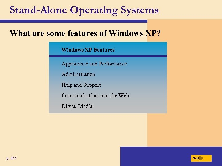 Stand-Alone Operating Systems What are some features of Windows XP? Windows XP Features Appearance