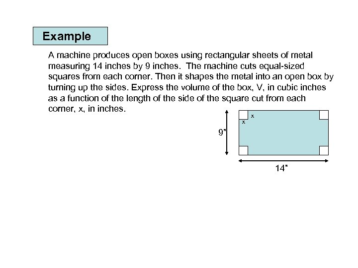 Example A machine produces open boxes using rectangular sheets of metal measuring 14 inches