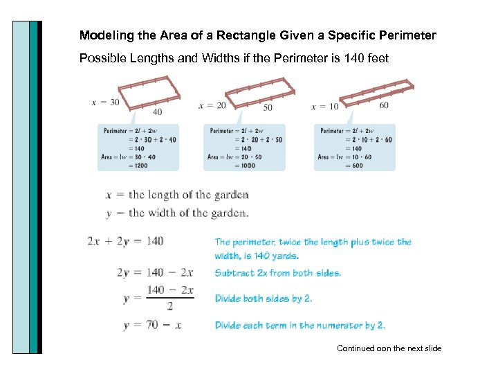 Modeling the Area of a Rectangle Given a Specific Perimeter Possible Lengths and Widths