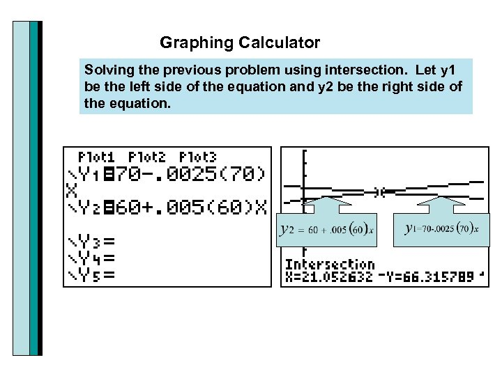 Graphing Calculator Solving the previous problem using intersection. Let y 1 be the left