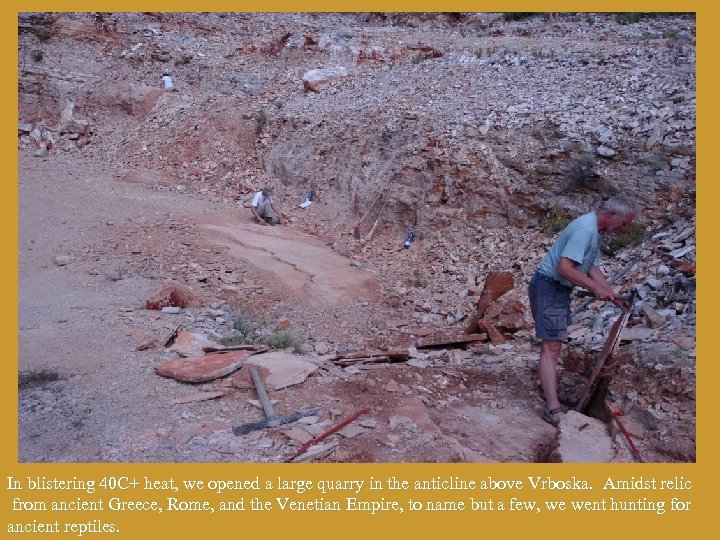 In blistering 40 C+ heat, we opened a large quarry in the anticline above