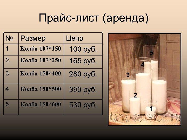 Прайс-лист (аренда) № Размер 1. Цена Колба 107*150 100 руб. 2. Колба 107*250 165