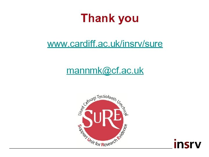 Thank you www. cardiff. ac. uk/insrv/sure mannmk@cf. ac. uk