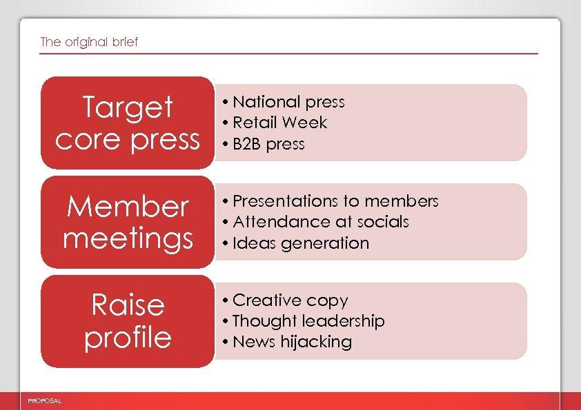 The original brief Target core press Member meetings Raise profile PROPOSAL • National press