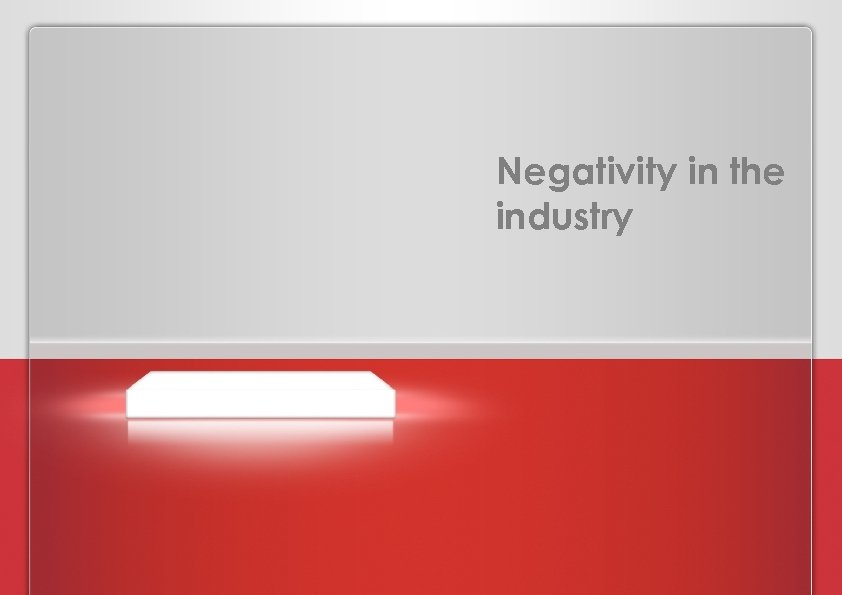 Negativity in the industry PROPOSAL