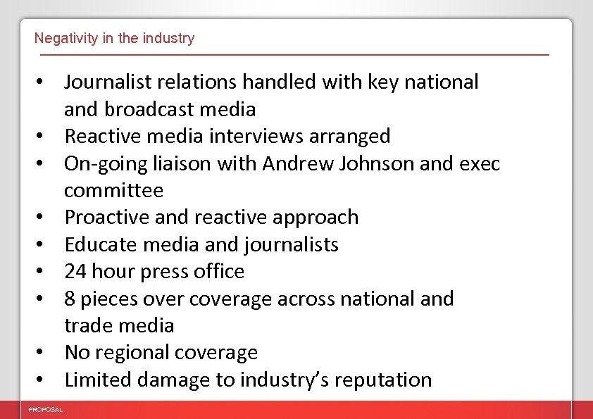 Negativity in the industry • Journalist relations handled with key national and broadcast media