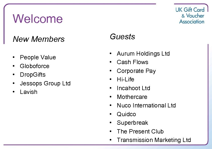 Welcome New Members • • • People Value Globoforce Drop. Gifts Jessops Group Ltd