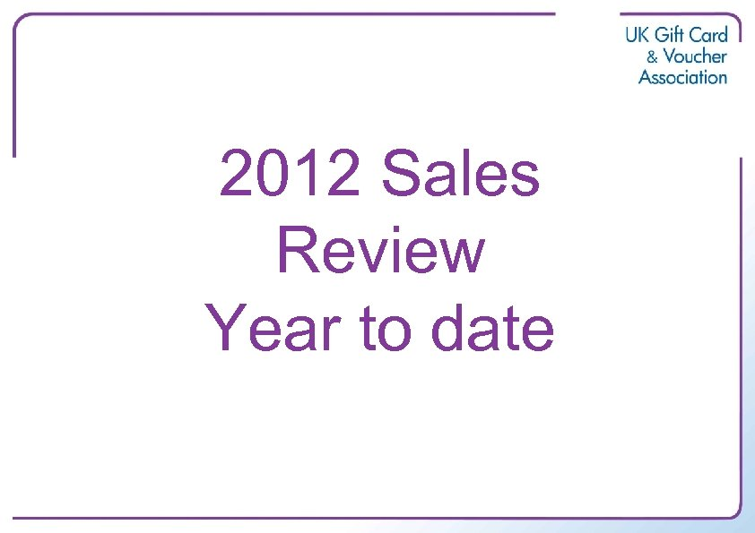 2012 Sales Review Year to date