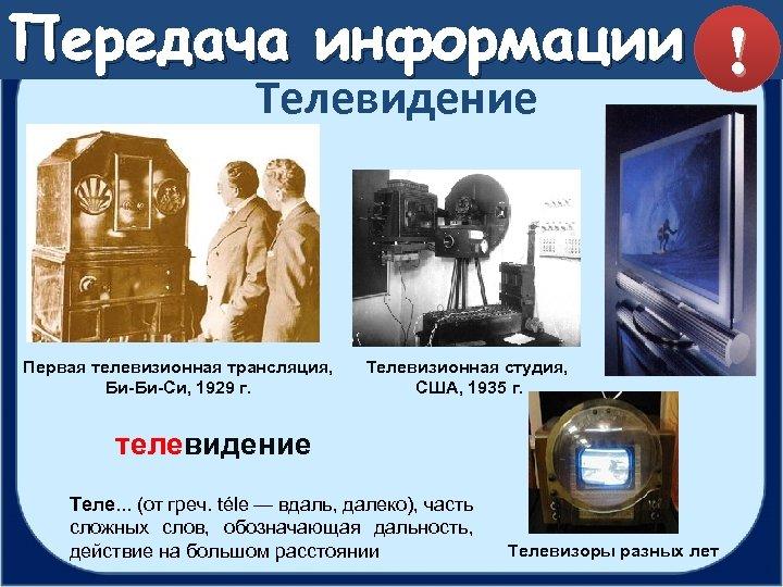 Передача информации ! Телевидение Первая телевизионная трансляция, Би-Би-Си, 1929 г. Телевизионная студия, США, 1935