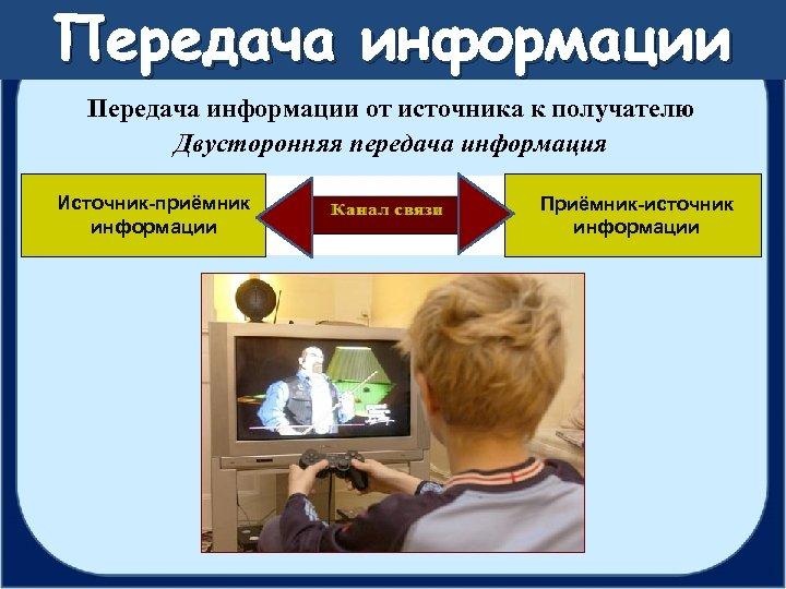 Передача информации от источника к получателю Двусторонняя передача информация Источник-приёмник информации Приёмник-источник информации