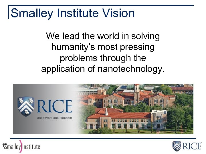 Smalley Institute Vision We lead the world in solving humanity's most pressing problems through