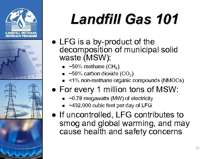 Landfill Gas 101 l LFG is a by-product of the decomposition of municipal solid