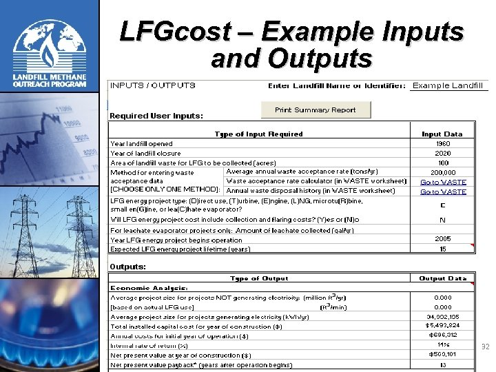 LFGcost – Example Inputs and Outputs 32