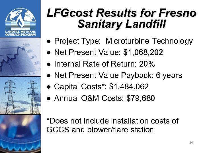 LFGcost Results for Fresno Sanitary Landfill l l l Project Type: Microturbine Technology Net