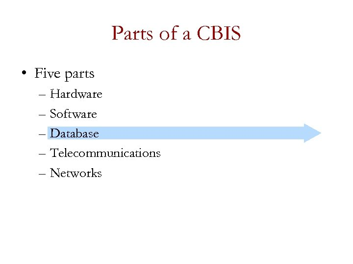 Parts of a CBIS • Five parts – Hardware – Software – Database –
