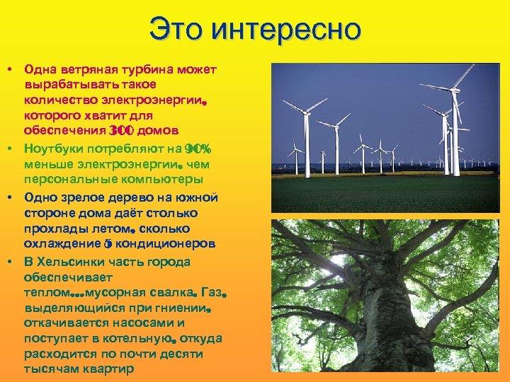 Это интересно • Одна ветряная турбина может вырабатывать такое количество электроэнергии, которого хватит для