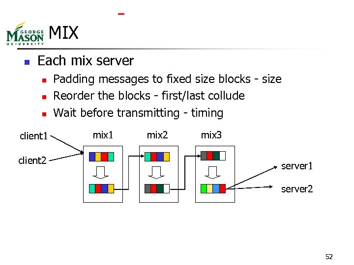 MIX n Each mix server n n n client 1 client 2 Padding