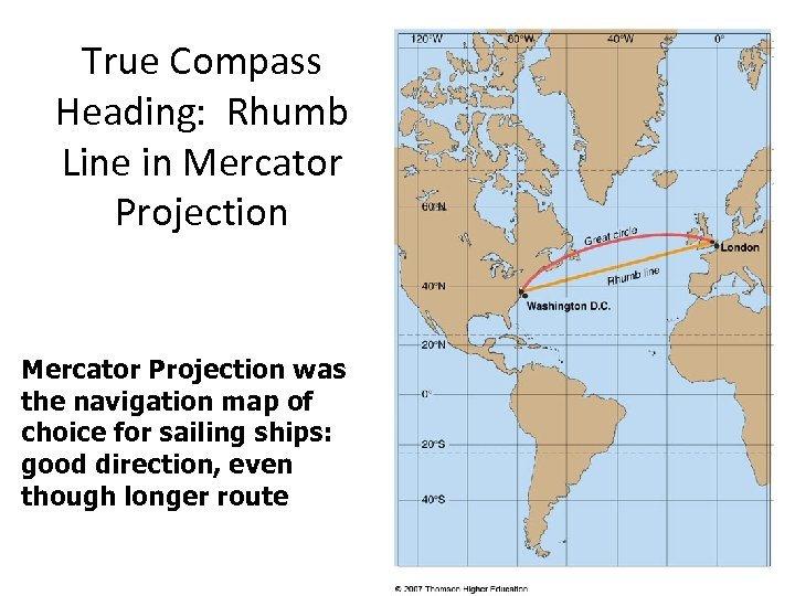 True Compass Heading: Rhumb Line in Mercator Projection was the navigation map of choice