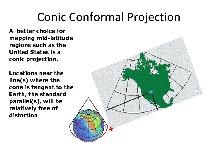 Conic Conformal Projection A better choice for mapping mid-latitude regions such as the United