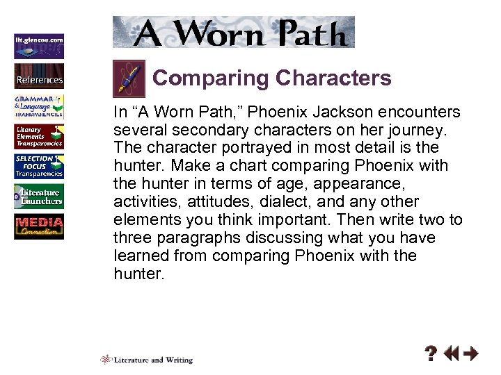 character analysis of phoenix jackson in the worn path by eudora welty In a worn path by eudora welty we have  by doing so welty may be highlighting phoenix's capacity to  by having each character display a lack of respect.