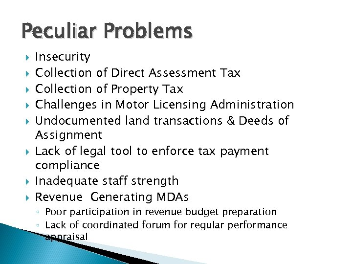 Peculiar Problems Insecurity Collection of Direct Assessment Tax Collection of Property Tax Challenges in