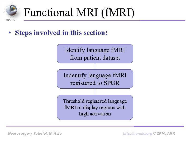 Functional MRI (f. MRI) • Steps involved in this section: Identify language f. MRI