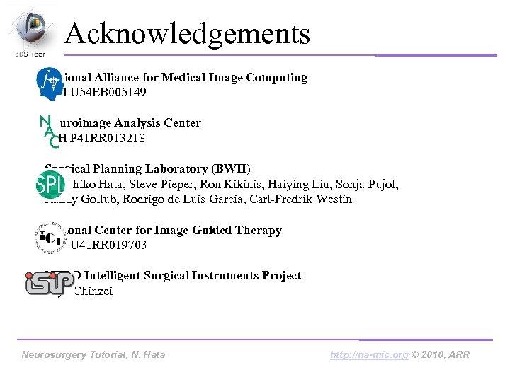 Acknowledgements National Alliance for Medical Image Computing NIH U 54 EB 005149 Neuroimage Analysis