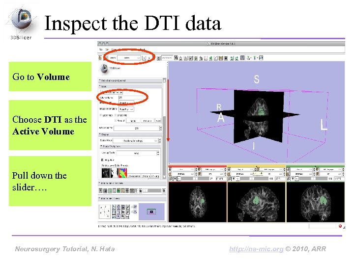 Inspect the DTI data Go to Volume Choose DTI as the Active Volume Pull
