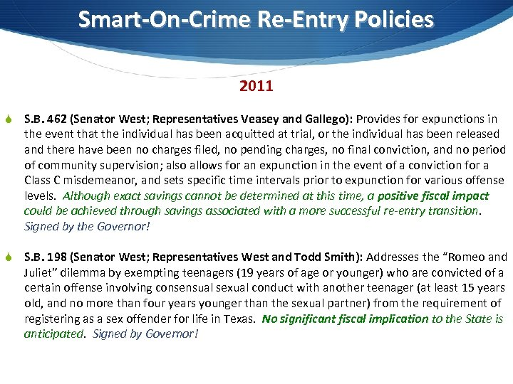 Smart-On-Crime Re-Entry Policies 2011 S S. B. 462 (Senator West; Representatives Veasey and Gallego):