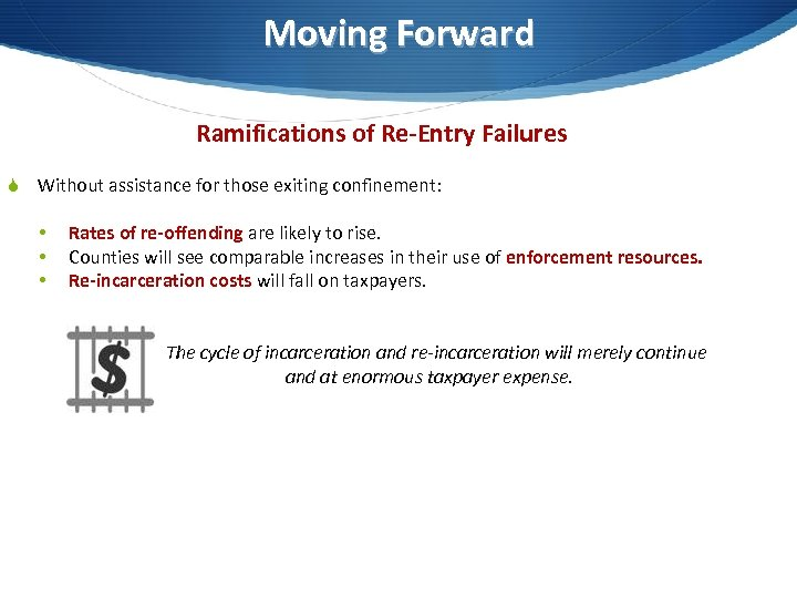 Moving Forward Ramifications of Re-Entry Failures S Without assistance for those exiting confinement: •