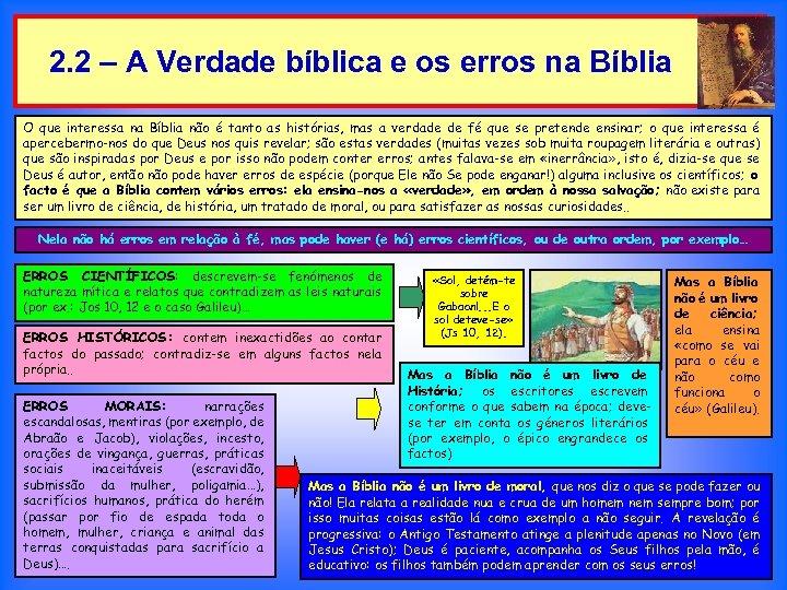 2. 2 – A Verdade bíblica e os erros na Bíblia O que interessa