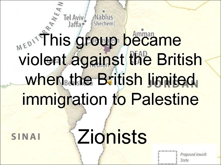 This group became violent against the British when the British limited immigration to Palestine
