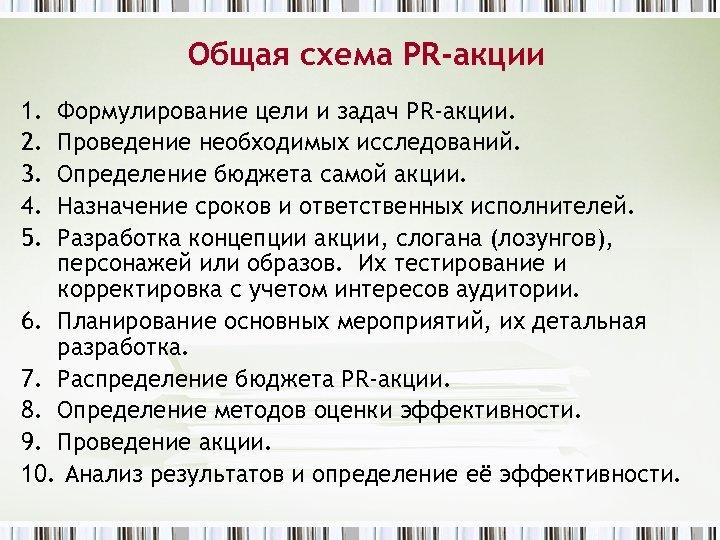 Общая схема PR-акции 1. 2. 3. 4. 5. Формулирование цели и задач PR-акции. Проведение
